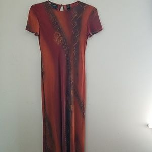 Maxi Length Copper Colored Short Sleeve Dress